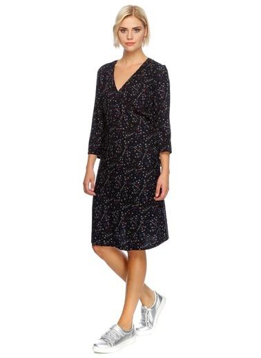 Black Pepper V Yaka Desenli Elbise Renkli